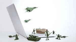 a makeshift army around a computer to indicate security for wordpress